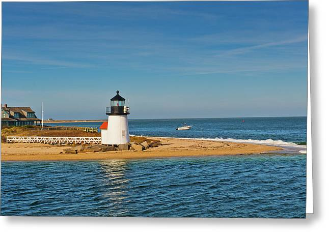 Brant Point Greeting Cards - Brant Point Lighthouse Nantucket Greeting Card by Marianne Campolongo