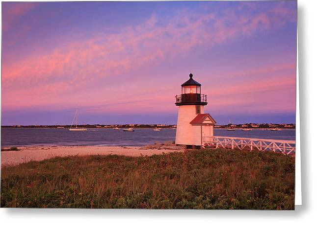 Brant Point Lighthouse Sunset Greeting Card by Katherine Gendreau
