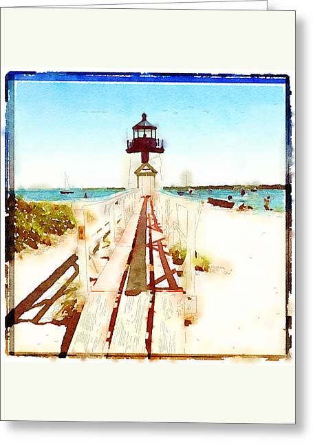 Brant Point Painted Greeting Card by Natasha Marco