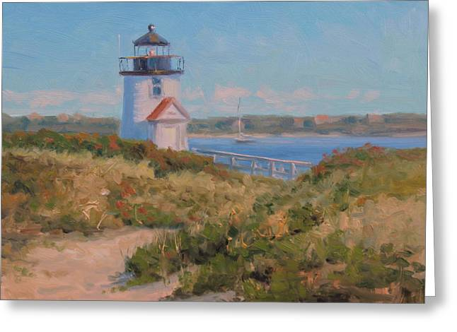 Brant Point Greeting Cards - Brant Pt. Light Greeting Card by Marianne  Kuhn