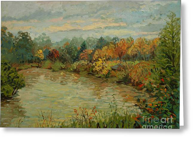 Autumn Leaf On Water Paintings Greeting Cards - Branta Pond  Greeting Card by Monica Caballero
