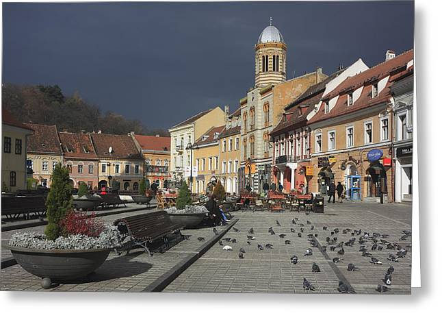 Union Square Greeting Cards - Brasov Council Square Romania  Greeting Card by Ivan Pendjakov