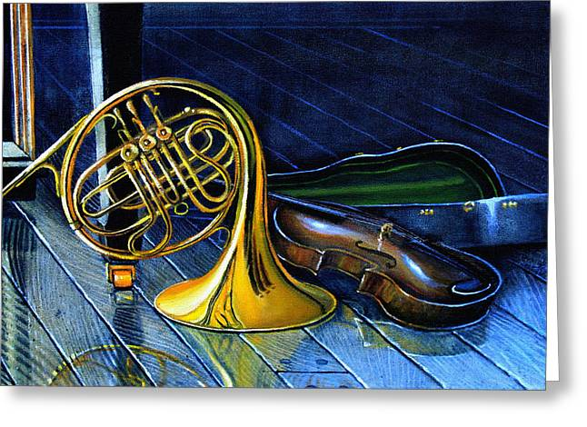 Brass And Strings Greeting Card by Hanne Lore Koehler