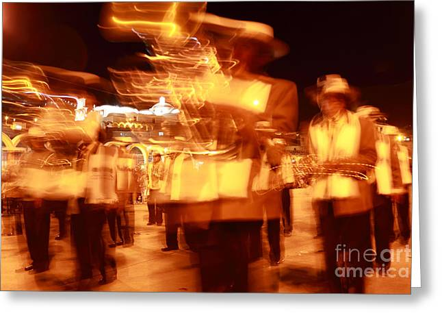 Best Sellers -  - Marching Band Greeting Cards - Brass band at night Greeting Card by James Brunker