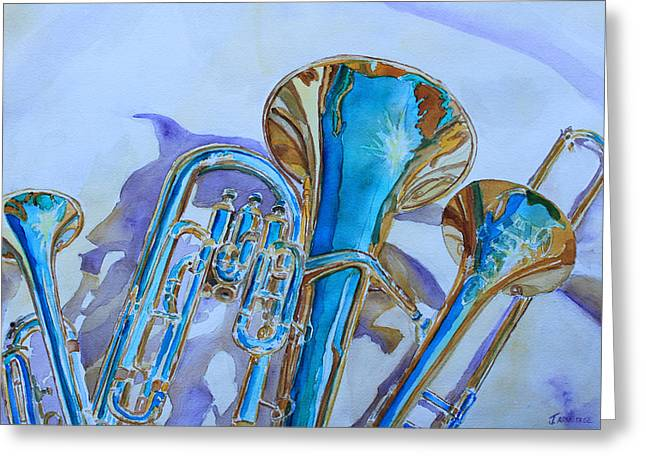 Music Greeting Cards - Brass Candy Trio Greeting Card by Jenny Armitage