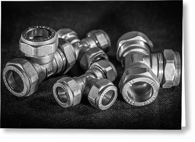 Brass Fittings Greeting Cards - Brass Compression Tees. Greeting Card by Gary Gillette