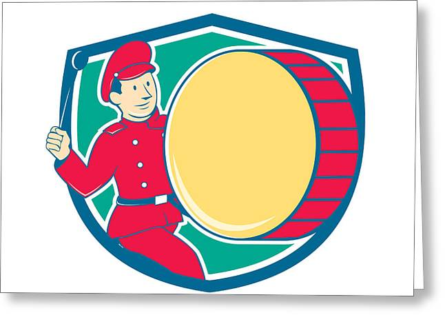 Marching Band Greeting Cards - Brass Drum Drummer Marching Shield Greeting Card by Aloysius Patrimonio