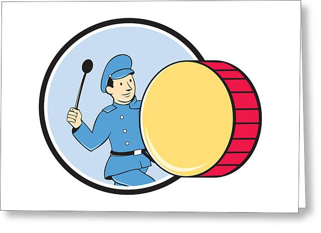 Marching Band Greeting Cards - Brass Drum Marching Band Drummer Circle Greeting Card by Aloysius Patrimonio