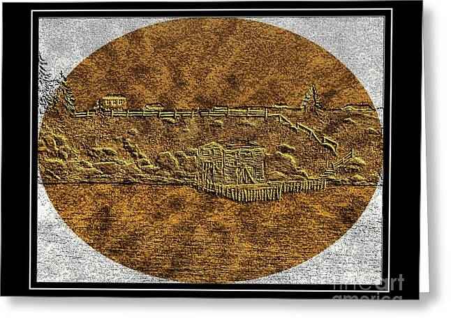 Shed Digital Art Greeting Cards - Brass Etching - Oval - Fishing Stage Greeting Card by Barbara Griffin