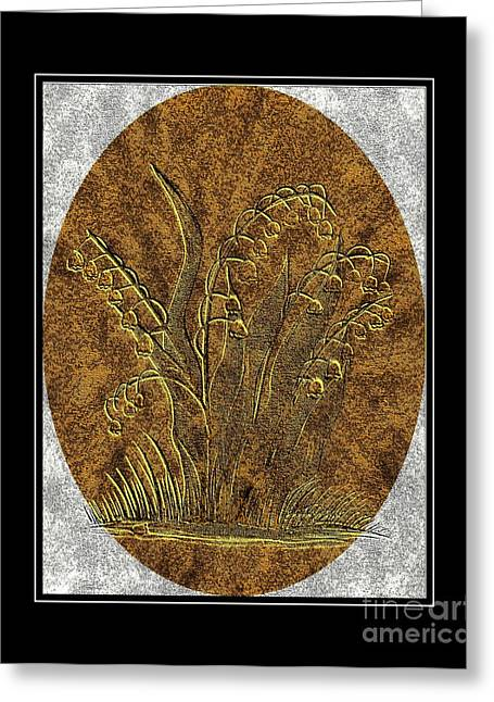 Brass Etching Greeting Cards - Brass Etching - Oval - Lily of the Valley Greeting Card by Barbara Griffin