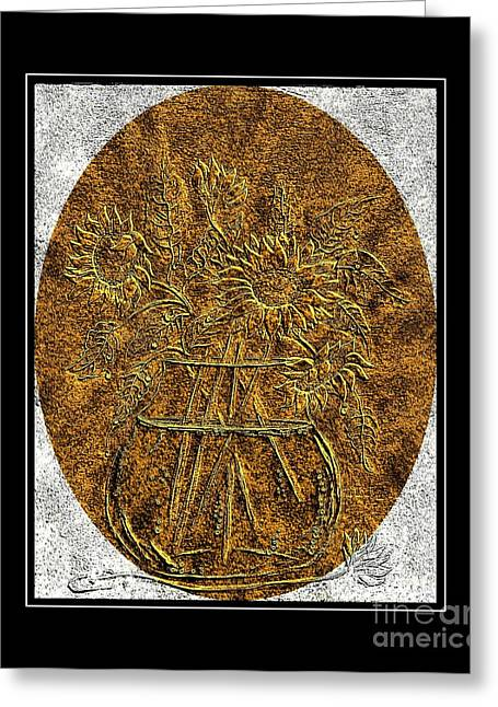 Brass Etching Greeting Cards - Brass Etching - Oval - Sunflowers Greeting Card by Barbara Griffin