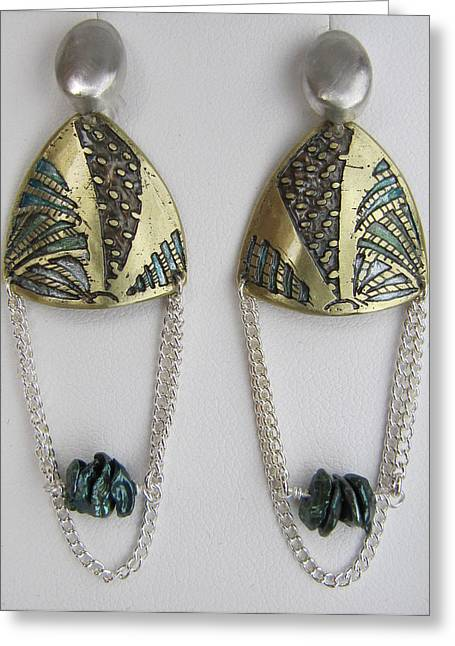 Brass Etching Jewelry Greeting Cards - Brass Etching Green Teal Earrings Greeting Card by Brenda Berdnik
