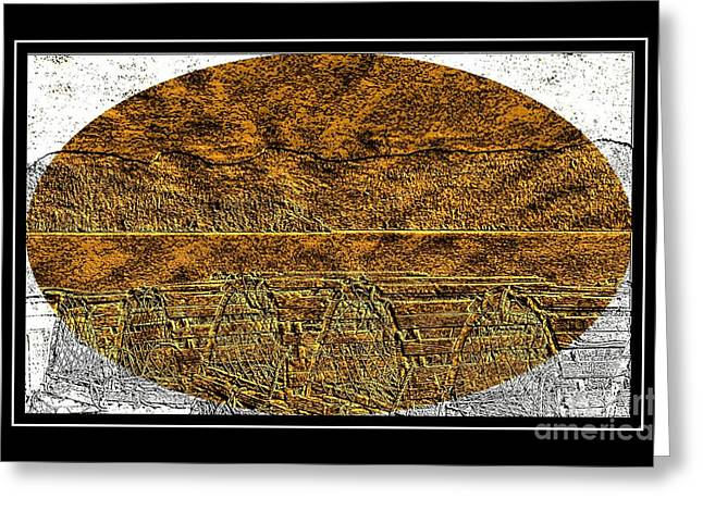 Brass Etching Greeting Cards - Brass Etching - Oval - Lobster Pots Greeting Card by Barbara Griffin