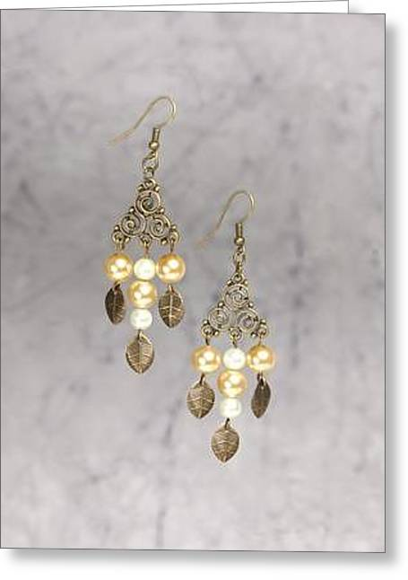 White Jewelry Greeting Cards - Brass Filigree Triangle Pearl and Leaf Chandelier Earrings Greeting Card by Kimberly Johnson