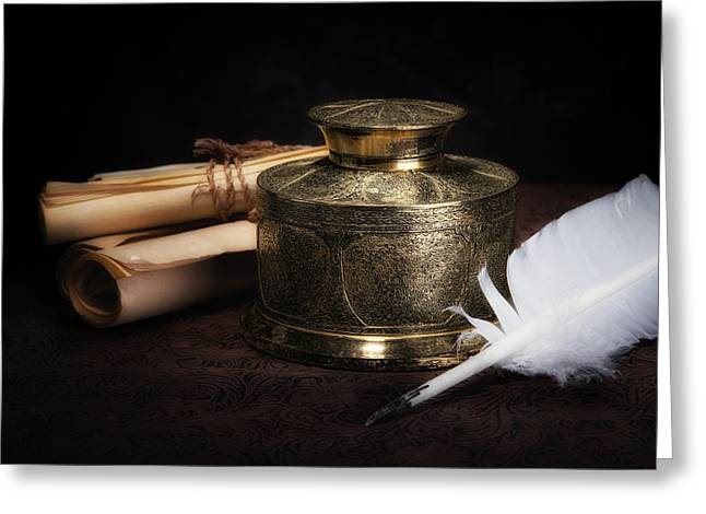 Knowledge Object Greeting Cards - Brass Inkwell Still Life Greeting Card by Tom Mc Nemar