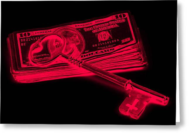 American Home Greeting Cards - Brass Key On Pile Of American Money Pop Art  Greeting Card by Keith Webber Jr