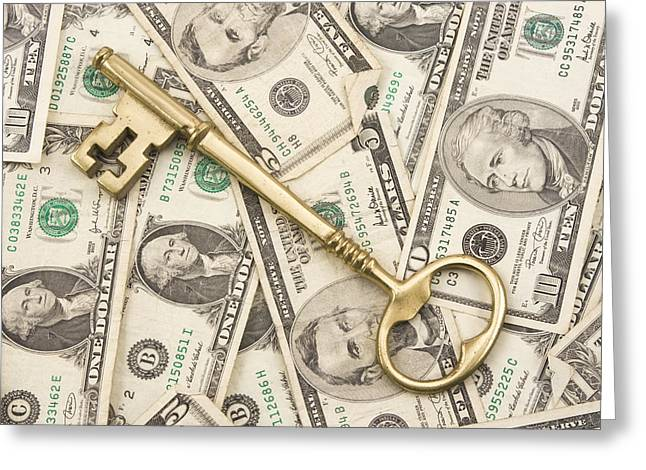American Home Greeting Cards - Brass Key To Success Money Greeting Card by Keith Webber Jr
