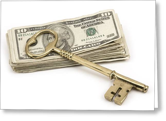 American Home Greeting Cards - Brass Key To Success On Pile Of American Money  Greeting Card by Keith Webber Jr