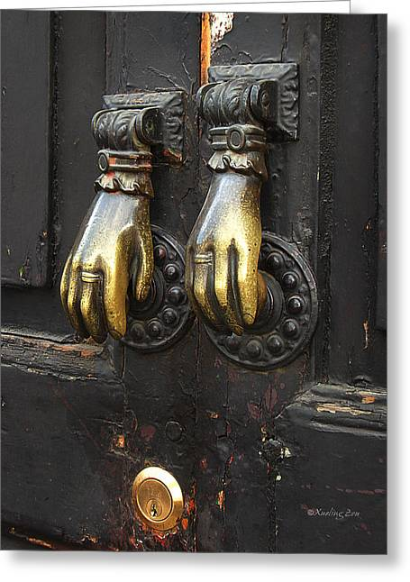 Paint Photograph Greeting Cards - Brass Knockers Greeting Card by Xueling Zou