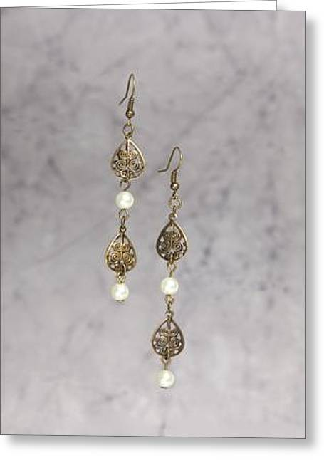 White Jewelry Greeting Cards - Brass Leaf and Pearl Earrings Greeting Card by Kimberly Johnson