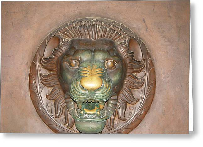 Brass Rubbing Greeting Cards - Brass lion Greeting Card by Maura Satchell