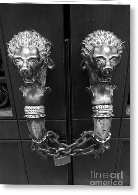 Gargoyle Lion Greeting Cards - Brass Manes Greeting Card by Thomas Chorbak