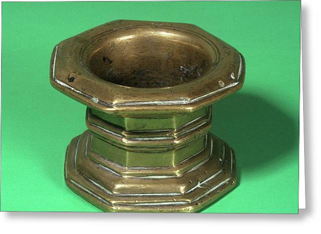 Brass Mortar Greeting Card by Science Photo Library
