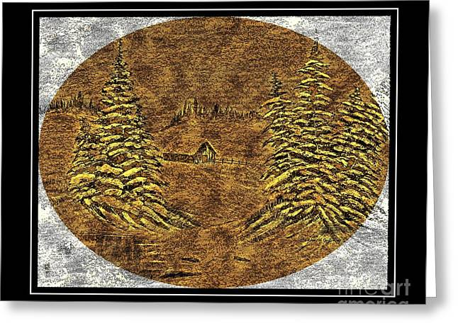 Shack Mixed Media Greeting Cards - Brass-type Etching - Oval - Cabin Between the Trees Greeting Card by Barbara Griffin