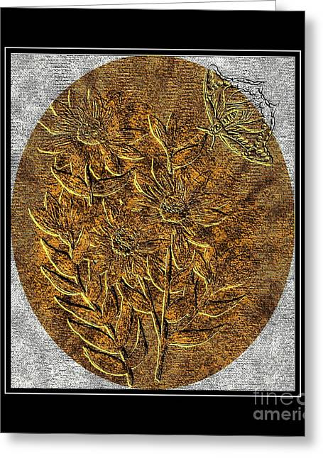 Brass Etching Greeting Cards - Brass-type Etching - Oval - Daisies and Butterfly Greeting Card by Barbara Griffin