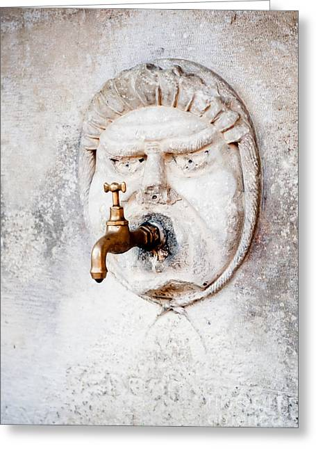 Dripping Tap Greeting Cards - Brass water faucet and carved stone face on wall Greeting Card by Stephan Pietzko