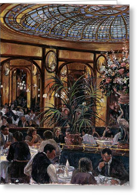 Art Nouveau Photographs Greeting Cards - Brasserie Bofinger In The Rue De La Bastille, Paris, 1999 Oil On Canvas Greeting Card by Rosemary Lowndes