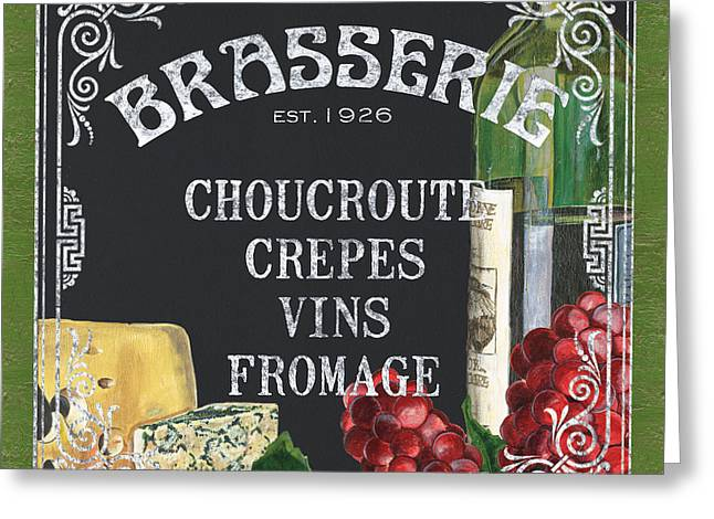 Blue Grapes Greeting Cards - Brasserie Paris Greeting Card by Debbie DeWitt