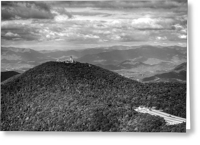 Chrystal Greeting Cards - Brasstown Bald in Black and White Greeting Card by Chrystal Mimbs