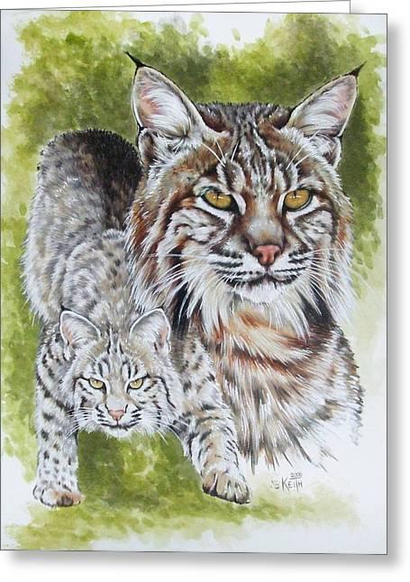 Bobcats Mixed Media Greeting Cards - Brassy Greeting Card by Barbara Keith