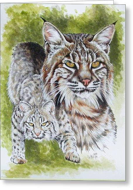 Wildcats Drawings Greeting Cards - Brassy Greeting Card by Barbara Keith