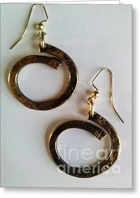 Circles Jewelry Greeting Cards - Brassy Circles Greeting Card by Silvia Ledezma