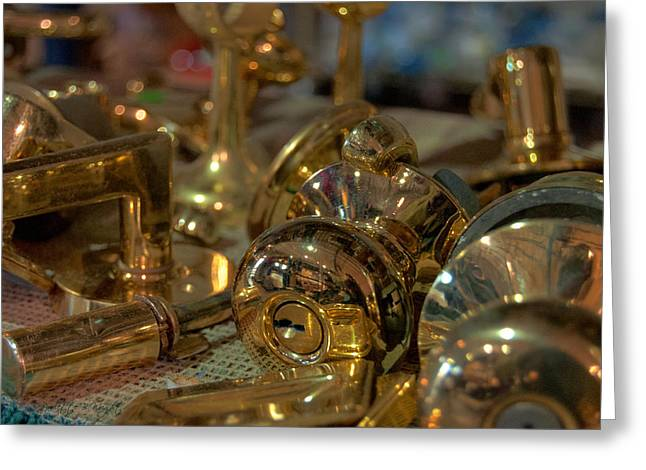 Brass Fittings Greeting Cards - Brassy Greeting Card by Paulette B Wright