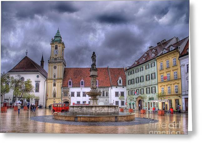 Cobbles Greeting Cards - Bratislava Old Town Hall Greeting Card by Juli Scalzi