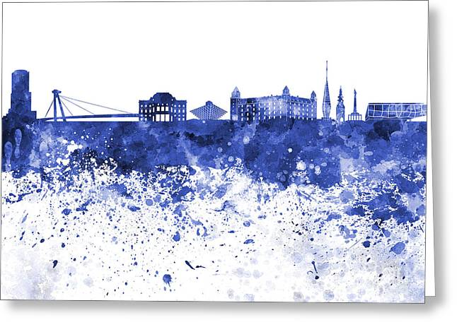 Slovakia Greeting Cards - Bratislava skyline in blue watercolor on white background Greeting Card by Pablo Romero
