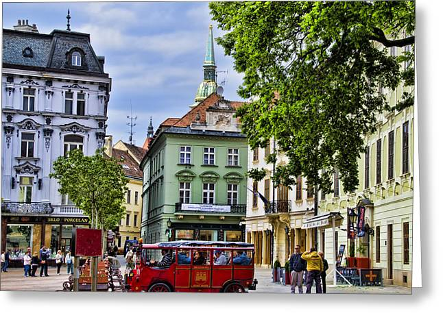 Bratislava Town Square Greeting Card by Jon Berghoff