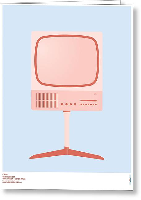 Braun Greeting Cards - Braun FS 80 Television Set - Dieter Rams Greeting Card by Peter Cassidy