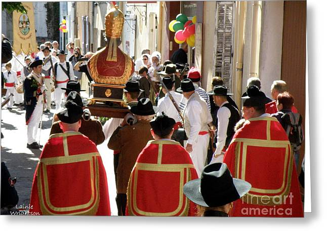 Bravade Saint Clement Procession Greeting Card by Lainie Wrightson