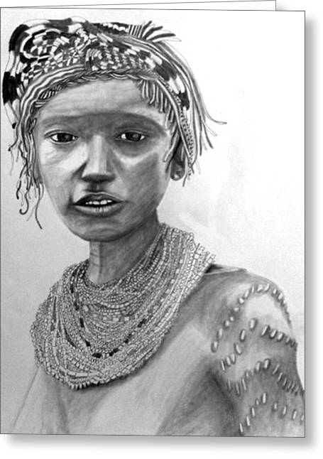 African Inspired Art Greeting Cards - Brave Braid Greeting Card by AnnCharlotte Tavolacci