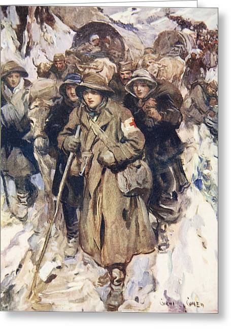 Bravery Drawings Greeting Cards - Brave Nurses In The Retreat Greeting Card by Cyrus Cuneo