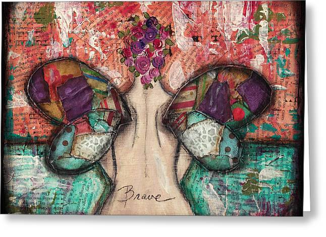Brave Mixed Media Greeting Cards - Brave Soul Greeting Card by Shawn Petite