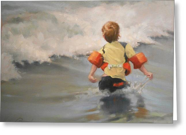 Little Boy Greeting Cards - Brave Swimmer Greeting Card by Todd Baxter