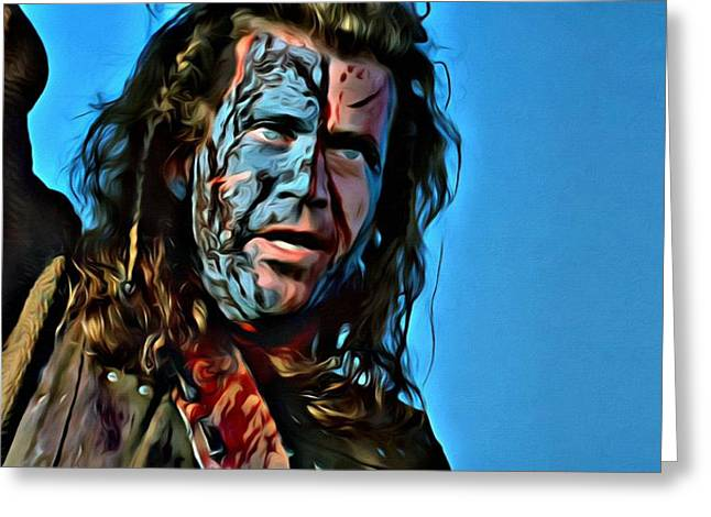 Blue Face Greeting Cards - Braveheart Greeting Card by Florian Rodarte