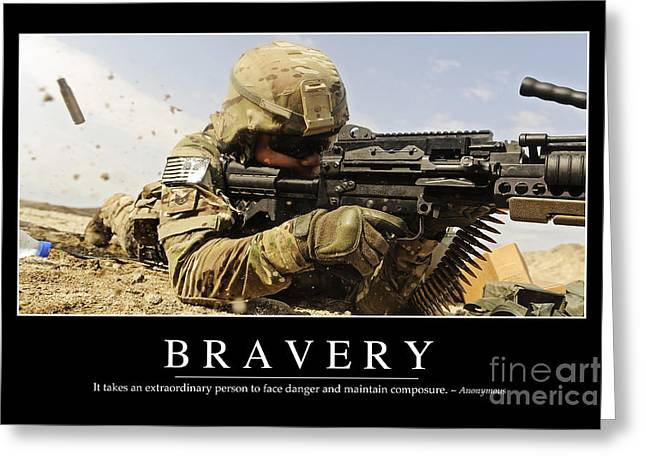 Fed Greeting Cards - Bravery Inspirational Quote Greeting Card by Stocktrek Images