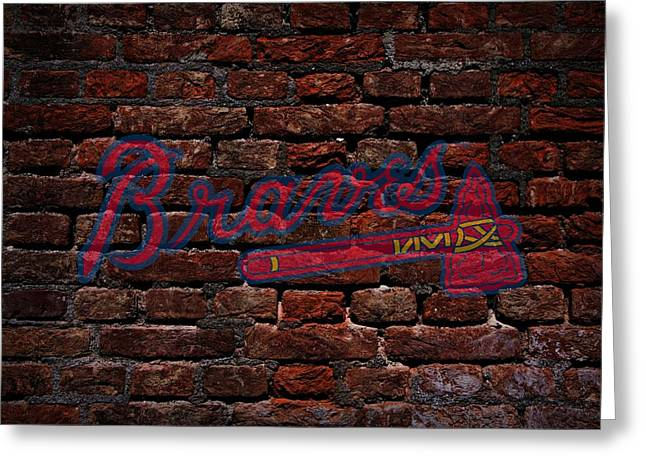 Cabin Wall Greeting Cards - Braves Baseball Graffiti on Brick  Greeting Card by Movie Poster Prints