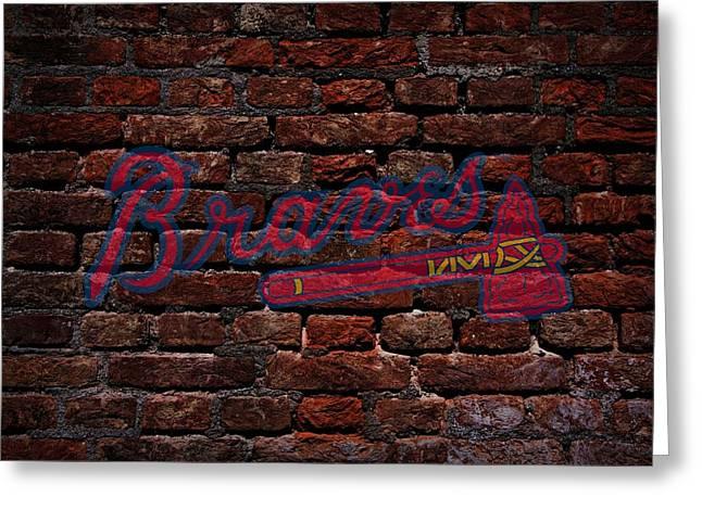 Braves Baseball Graffiti on Brick  Greeting Card by Movie Poster Prints